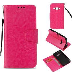 Retro Phantom Smooth PU Leather Wallet Holster Case for Samsung Galaxy J1 2016 J120 - Rose