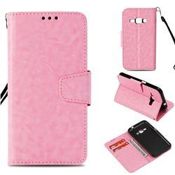 Retro Phantom Smooth PU Leather Wallet Holster Case for Samsung Galaxy J1 2016 J120 - Pink