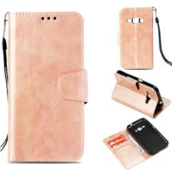 Retro Phantom Smooth PU Leather Wallet Holster Case for Samsung Galaxy J1 2016 J120 - Rose Gold