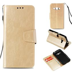 Retro Phantom Smooth PU Leather Wallet Holster Case for Samsung Galaxy J1 2016 J120 - Champagne