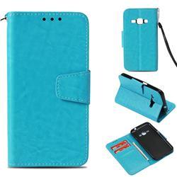 Retro Phantom Smooth PU Leather Wallet Holster Case for Samsung Galaxy J1 2016 J120 - Sky Blue