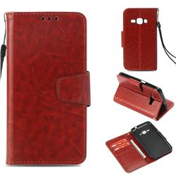 Retro Phantom Smooth PU Leather Wallet Holster Case for Samsung Galaxy J1 2016 J120 - Brown