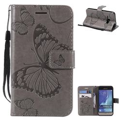 Embossing 3D Butterfly Leather Wallet Case for Samsung Galaxy J1 2016 J120 - Gray