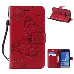 Embossing 3D Butterfly Leather Wallet Case for Samsung Galaxy J1 2016 J120 - Red