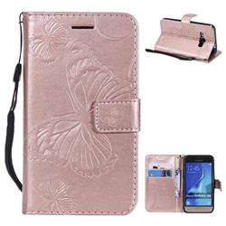 Embossing 3D Butterfly Leather Wallet Case for Samsung Galaxy J1 2016 J120 - Rose Gold