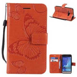 Embossing 3D Butterfly Leather Wallet Case for Samsung Galaxy J1 2016 J120 - Orange