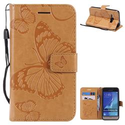 Embossing 3D Butterfly Leather Wallet Case for Samsung Galaxy J1 2016 J120 - Yellow