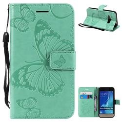 Embossing 3D Butterfly Leather Wallet Case for Samsung Galaxy J1 2016 J120 - Green