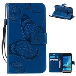 Embossing 3D Butterfly Leather Wallet Case for Samsung Galaxy J1 2016 J120 - Blue