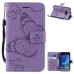 Embossing 3D Butterfly Leather Wallet Case for Samsung Galaxy J1 2016 J120 - Purple