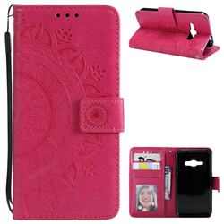 Intricate Embossing Datura Leather Wallet Case for Samsung Galaxy J1 2016 J120 - Rose Red