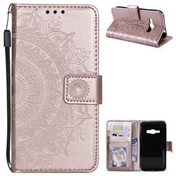 Intricate Embossing Datura Leather Wallet Case for Samsung Galaxy J1 2016 J120 - Rose Gold