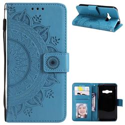 Intricate Embossing Datura Leather Wallet Case for Samsung Galaxy J1 2016 J120 - Blue