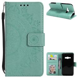 Intricate Embossing Datura Leather Wallet Case for Samsung Galaxy J1 2016 J120 - Mint Green