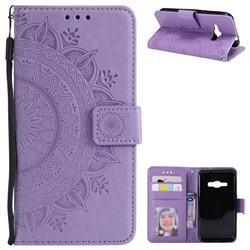 Intricate Embossing Datura Leather Wallet Case for Samsung Galaxy J1 2016 J120 - Purple