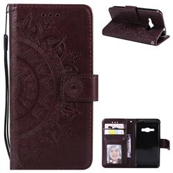 Intricate Embossing Datura Leather Wallet Case for Samsung Galaxy J1 2016 J120 - Brown