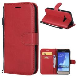 Retro Greek Classic Smooth PU Leather Wallet Phone Case for Samsung Galaxy J1 2016 J120 - Red
