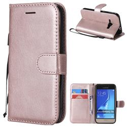 Retro Greek Classic Smooth PU Leather Wallet Phone Case for Samsung Galaxy J1 2016 J120 - Rose Gold