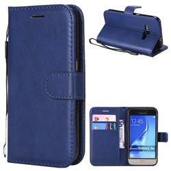 Retro Greek Classic Smooth PU Leather Wallet Phone Case for Samsung Galaxy J1 2016 J120 - Blue
