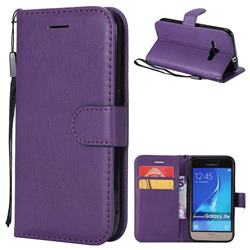 Retro Greek Classic Smooth PU Leather Wallet Phone Case for Samsung Galaxy J1 2016 J120 - Purple