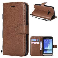 Retro Greek Classic Smooth PU Leather Wallet Phone Case for Samsung Galaxy J1 2016 J120 - Brown