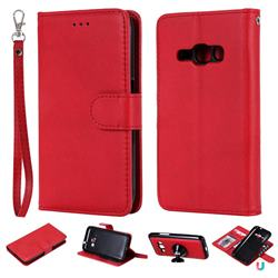 Retro Greek Detachable Magnetic PU Leather Wallet Phone Case for Samsung Galaxy J1 2016 J120 - Red