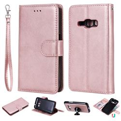 Retro Greek Detachable Magnetic PU Leather Wallet Phone Case for Samsung Galaxy J1 2016 J120 - Rose Gold