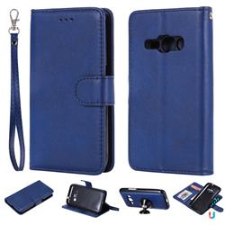 Retro Greek Detachable Magnetic PU Leather Wallet Phone Case for Samsung Galaxy J1 2016 J120 - Blue