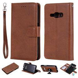 Retro Greek Detachable Magnetic PU Leather Wallet Phone Case for Samsung Galaxy J1 2016 J120 - Brown