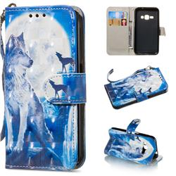 Ice Wolf 3D Painted Leather Wallet Phone Case for Samsung Galaxy J1 2016 J120