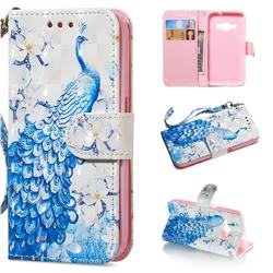 Blue Peacock 3D Painted Leather Wallet Phone Case for Samsung Galaxy J1 2016 J120