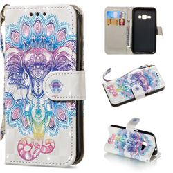Colorful Elephant 3D Painted Leather Wallet Phone Case for Samsung Galaxy J1 2016 J120
