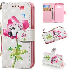 Flower Panda 3D Painted Leather Wallet Phone Case for Samsung Galaxy J1 2016 J120