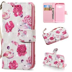 Flamingo 3D Painted Leather Wallet Phone Case for Samsung Galaxy J1 2016 J120