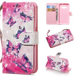 Pink Butterfly 3D Painted Leather Wallet Phone Case for Samsung Galaxy J1 2016 J120
