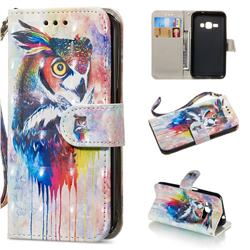 Watercolor Owl 3D Painted Leather Wallet Phone Case for Samsung Galaxy J1 2016 J120