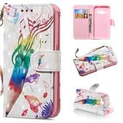 Music Pen 3D Painted Leather Wallet Phone Case for Samsung Galaxy J1 2016 J120