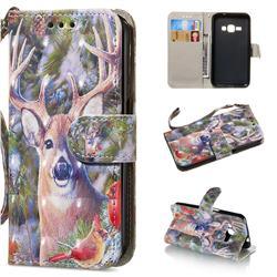 Elk Deer 3D Painted Leather Wallet Phone Case for Samsung Galaxy J1 2016 J120
