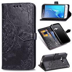 Embossing Imprint Mandala Flower Leather Wallet Case for Samsung Galaxy J1 2016 J120 - Black