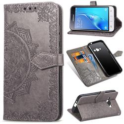 Embossing Imprint Mandala Flower Leather Wallet Case for Samsung Galaxy J1 2016 J120 - Gray