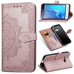 Embossing Imprint Mandala Flower Leather Wallet Case for Samsung Galaxy J1 2016 J120 - Rose Gold