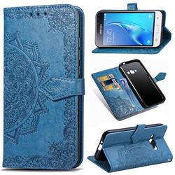 Embossing Imprint Mandala Flower Leather Wallet Case for Samsung Galaxy J1 2016 J120 - Blue