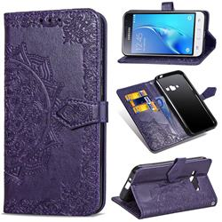 Embossing Imprint Mandala Flower Leather Wallet Case for Samsung Galaxy J1 2016 J120 - Purple