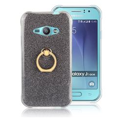 Luxury Soft TPU Glitter Back Ring Cover with 360 Rotate Finger Holder Buckle for Samsung Galaxy J1 Ace J110 - Black