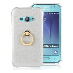 Luxury Soft TPU Glitter Back Ring Cover with 360 Rotate Finger Holder Buckle for Samsung Galaxy J1 Ace J110 - White