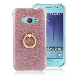 Luxury Soft TPU Glitter Back Ring Cover with 360 Rotate Finger Holder Buckle for Samsung Galaxy J1 Ace J110 - Pink