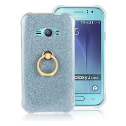 Luxury Soft TPU Glitter Back Ring Cover with 360 Rotate Finger Holder Buckle for Samsung Galaxy J1 Ace J110 - Blue