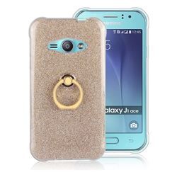 Luxury Soft TPU Glitter Back Ring Cover with 360 Rotate Finger Holder Buckle for Samsung Galaxy J1 Ace J110 - Golden