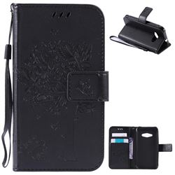 Embossing Butterfly Tree Leather Wallet Case for Samsung Galaxy J1 Ace J110 - Black