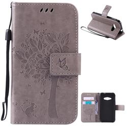 Embossing Butterfly Tree Leather Wallet Case for Samsung Galaxy J1 Ace J110 - Grey